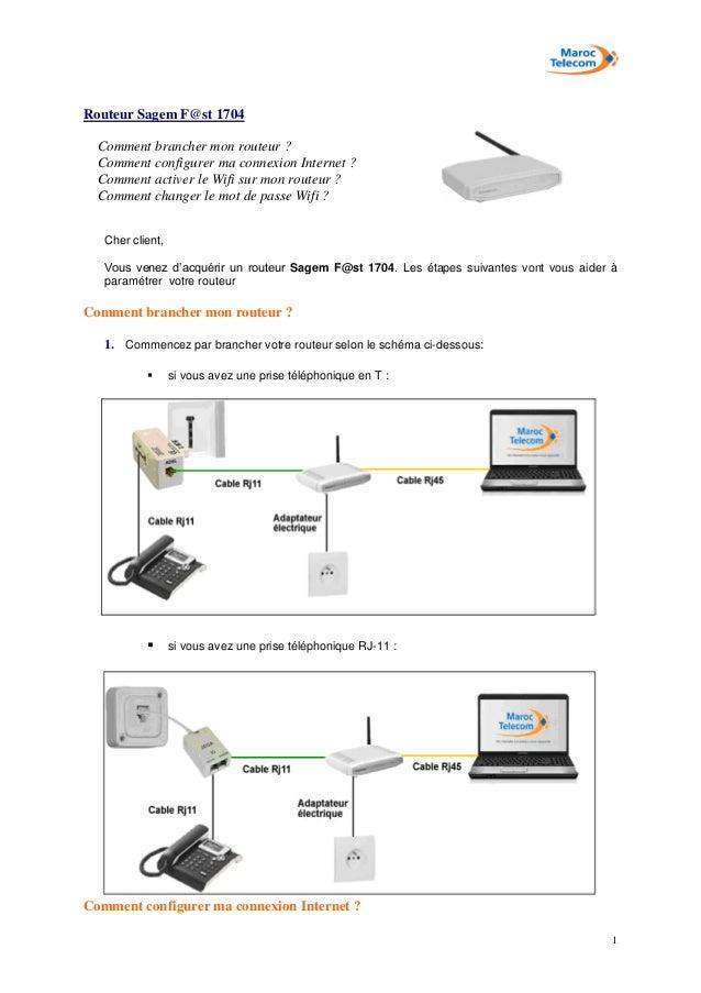 1 Routeur Sagem F@st 1704 Comment brancher mon routeur ? Comment configurer ma connexion Internet ? Comment activer le Wif...