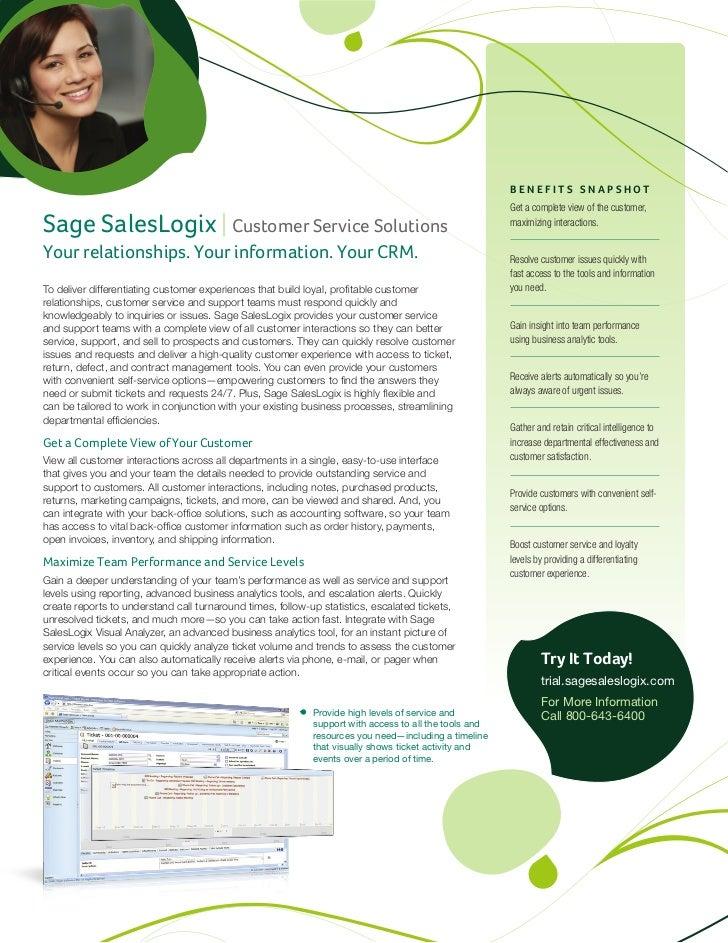 Sage SalesLogix Customer Service Datasheet