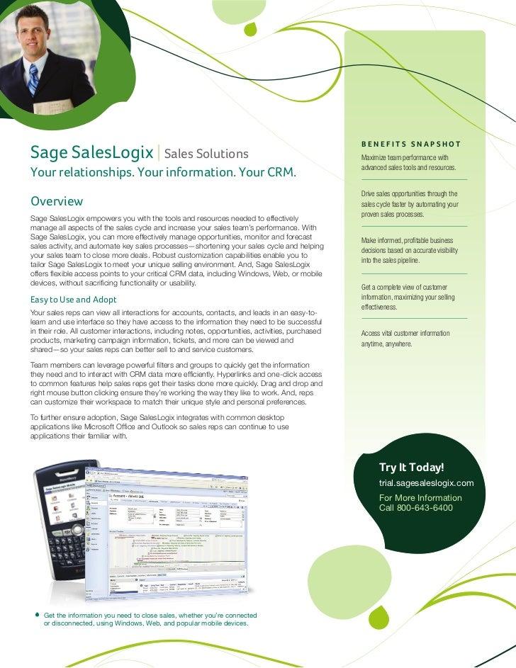 BENEFITS SNAPSHOTSage SalesLogix | Sales Solutions                                                                 Maximiz...