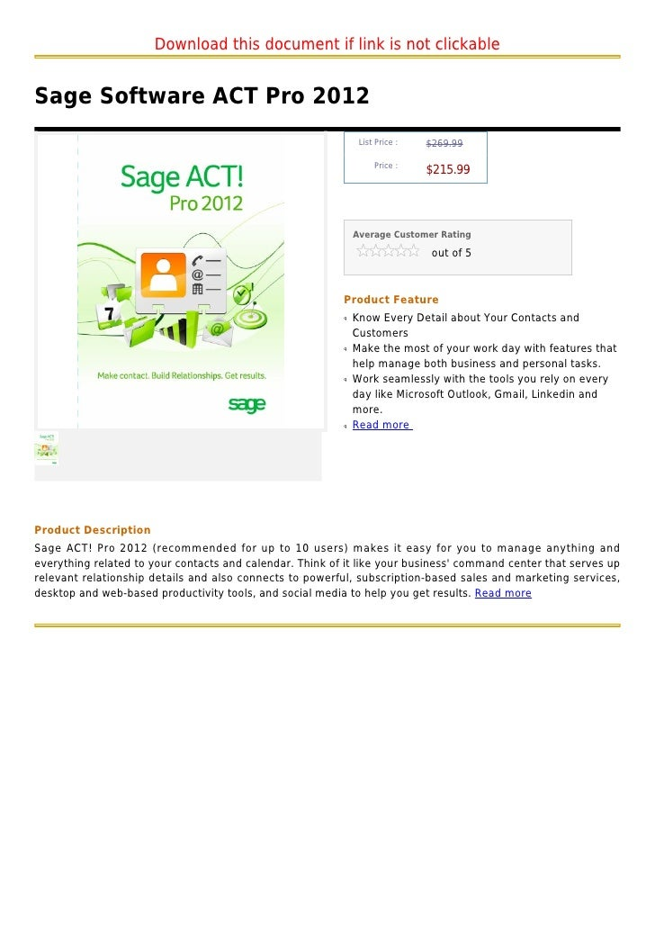 Download this document if link is not clickableSage Software ACT Pro 2012                                                 ...