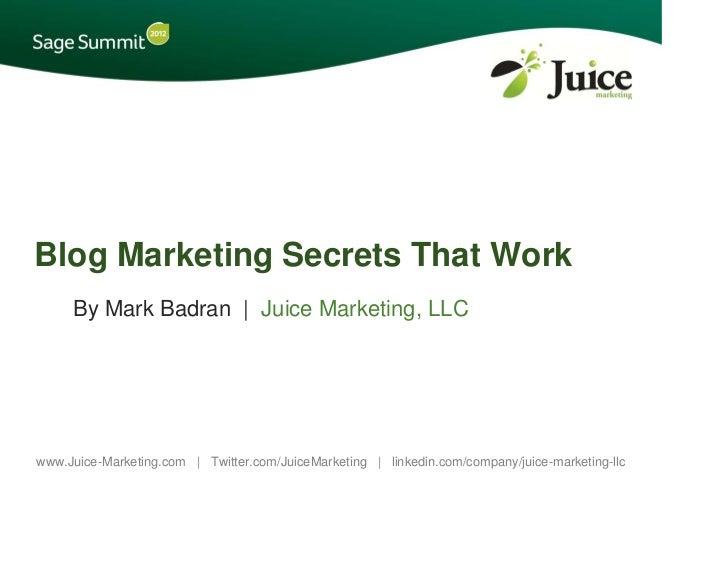 Blog Marketing Secrets That Work - Sage Summit