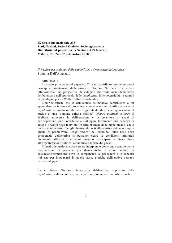 IX Convegno nazionale AISStati, Nazioni, Società Globale: SociologicamenteDistribuieted paper per la Sezione AIS GiovaniMi...
