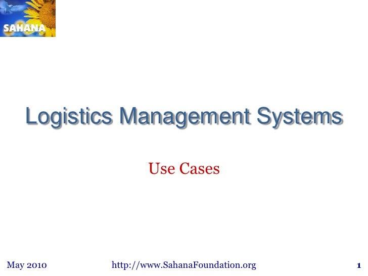 Sahana logistics use cases may25