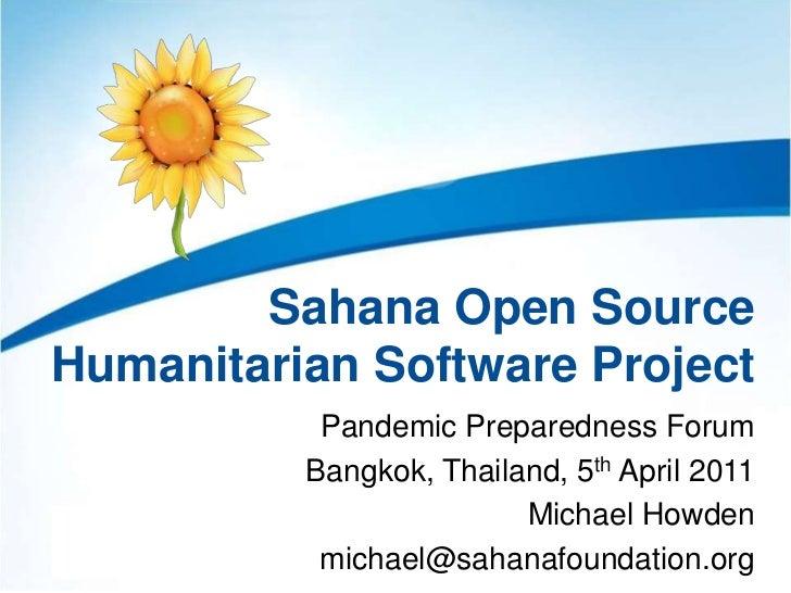 Sahana Open Source Humanitarian Software Project - Pandemic Preparedness Forum