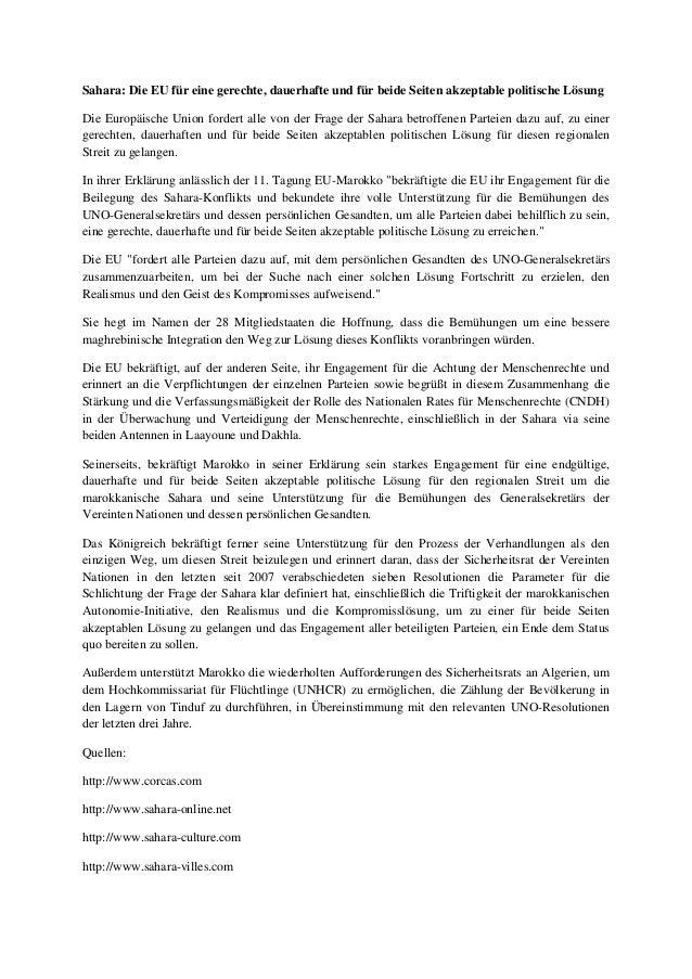 Sahara: Die EU für eine gerechte, dauerhafte und für beide Seiten akzeptable politische Lösung Die Europäische Union forde...
