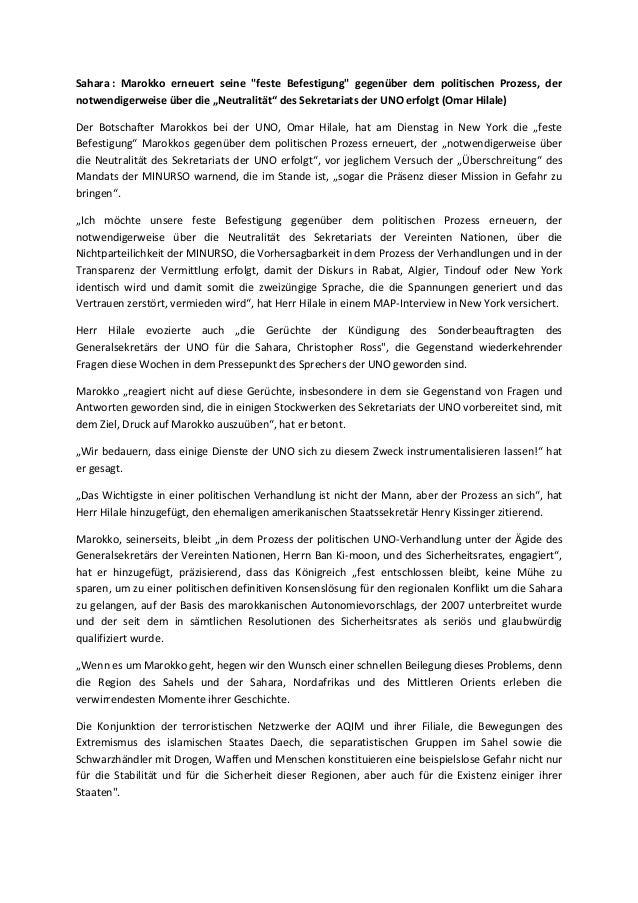 """Sahara : Marokko erneuert seine """"feste Befestigung"""" gegenüber dem politischen Prozess, der notwendigerweise über die """"Neut..."""