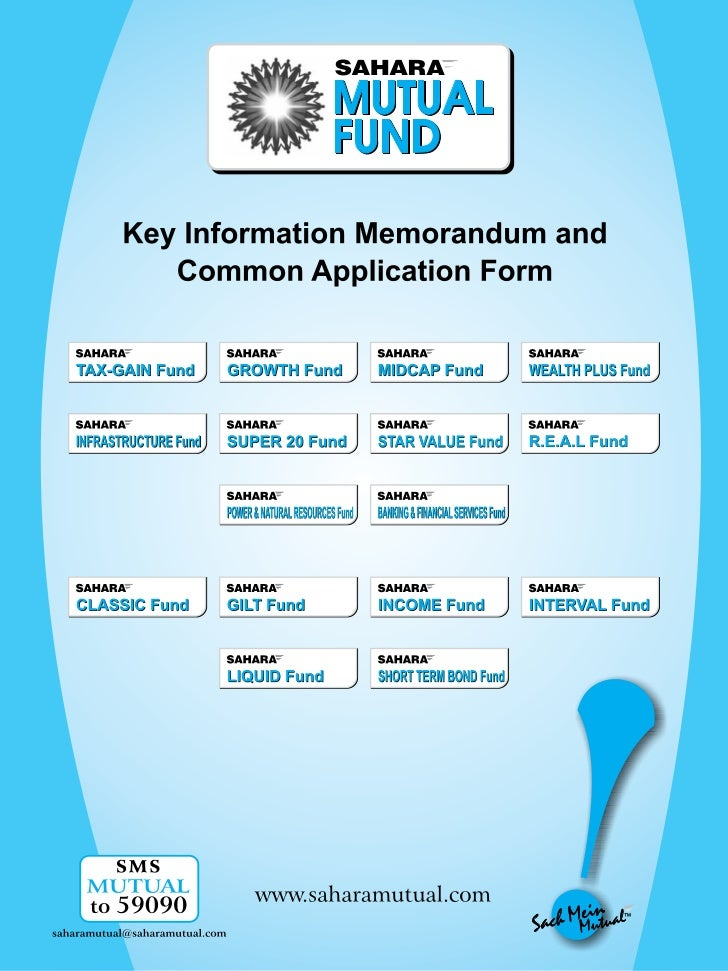 Sahara mutual fund common application form with kim