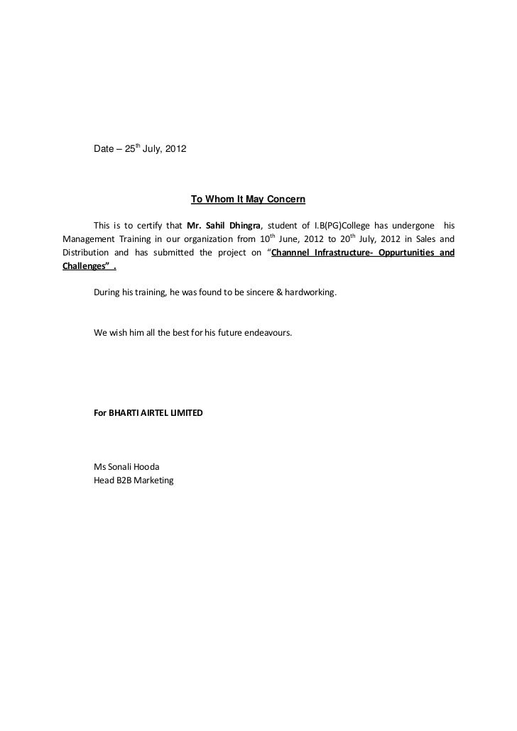Date – 25th July, 2012                                To Whom It May Concern        This is to certify that Mr. Sahil Dhin...