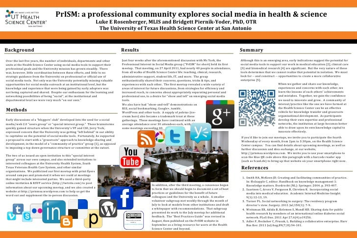 PrISM: a professional community explores social media in health & science