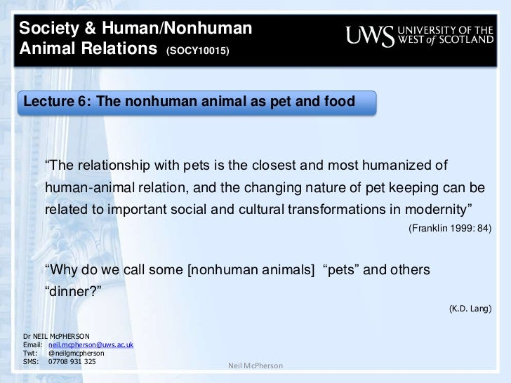 Neil McPherson<br />Society & Human/Nonhuman <br />Animal Relations  (SOCY10015) <br /> Lecture 6: The nonhuman animal as ...