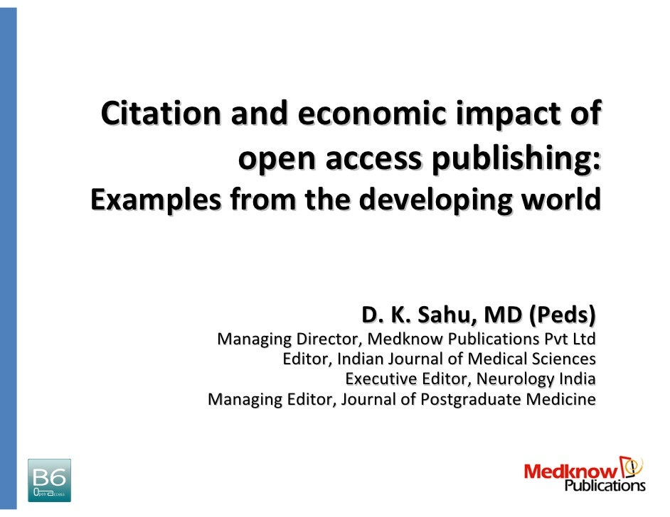 Citation and economic impact of           open access publishing:  Examples from the developing world                     ...