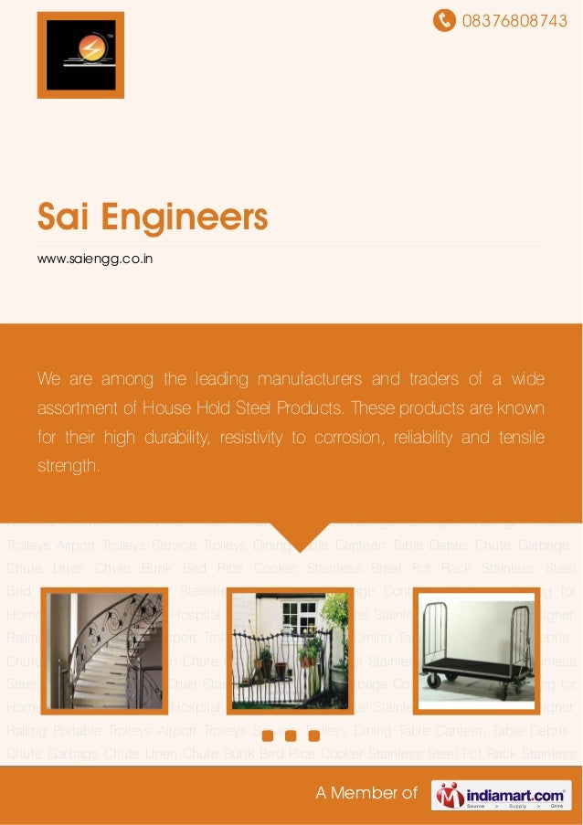 08376808743A Member ofSai Engineerswww.saiengg.co.inStainless Steel Railings Designer Railing Portable Trolleys Airport Tr...