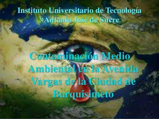 """Instituto Universitario de Tecnología """"Antonio José de Sucre Contaminación Medio Ambiental en la Avenida Vargas de la Ciud..."""