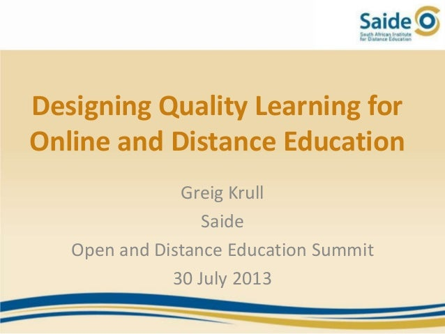 Designing Quality Learning for Online and Distance Education