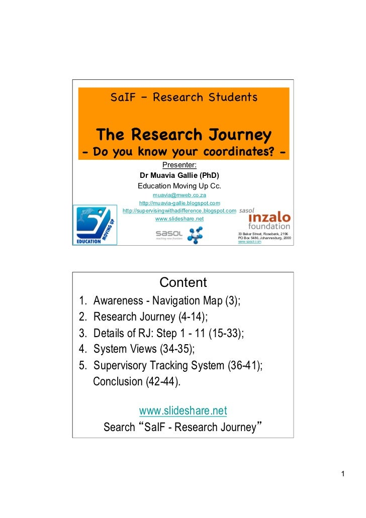 SaIF – Research Students      The Research Journey- Do you know your coordinates? -                         Presenter:    ...