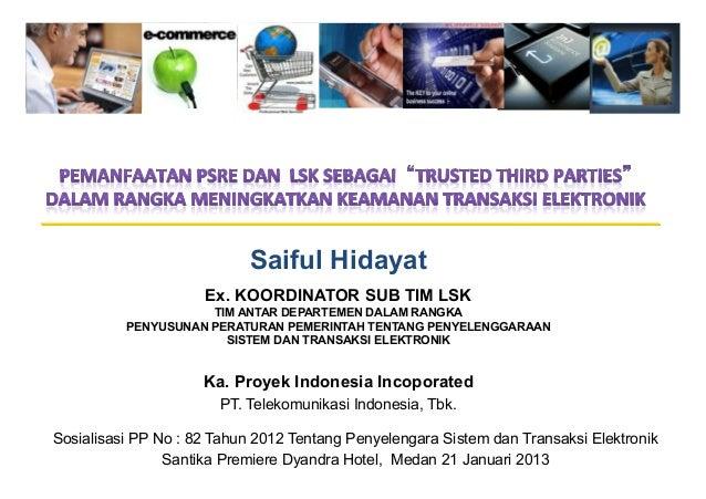 Saiful Hidayat                     Ex. KOORDINATOR SUB TIM LSK                     TIM ANTAR DEPARTEMEN DALAM RANGKA      ...