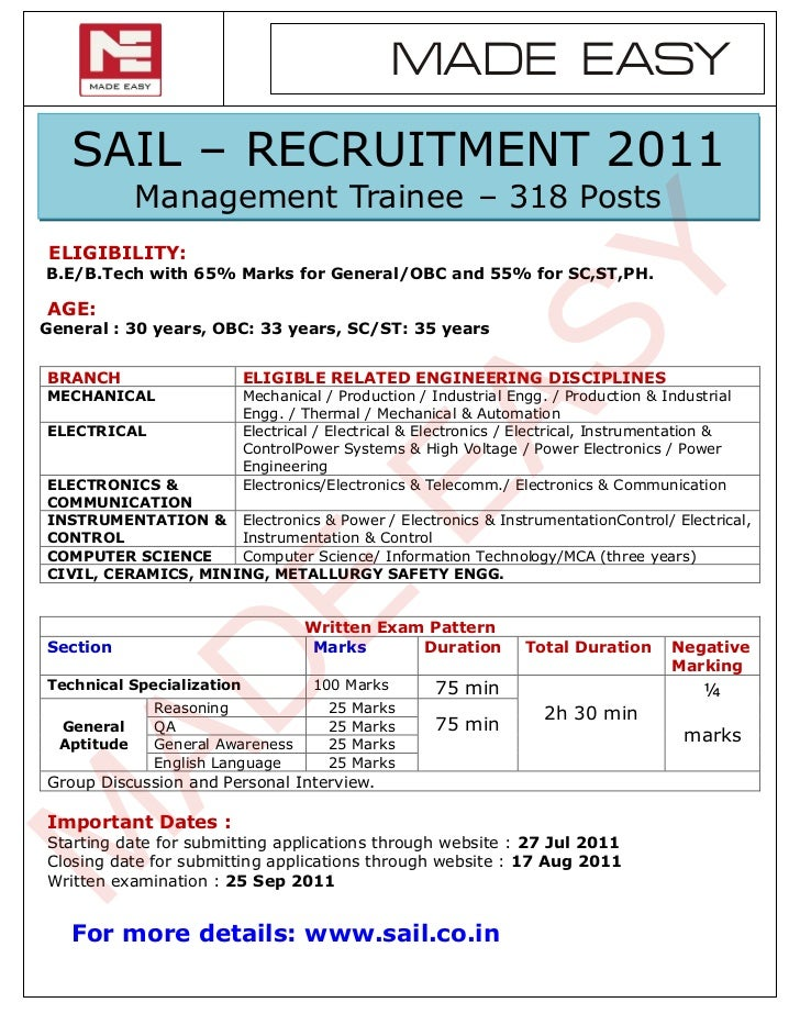 MADE EASY   SAIL – RECRUITMENT 2011             Management Trainee – 318 PostsELIGIBILITY:                                ...