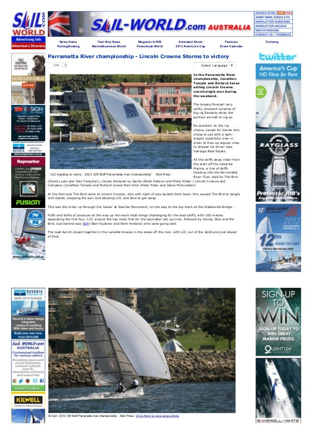 Sail world.com : parramatta river championship - lincoln crowne storms to victory