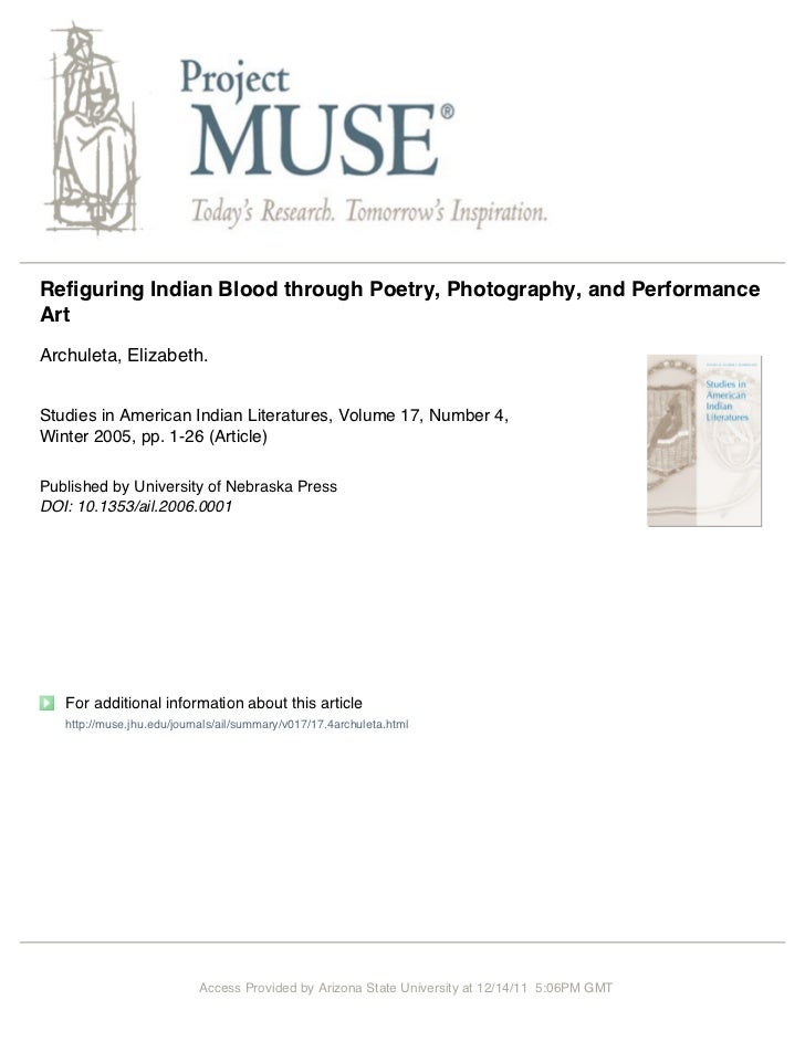 """Refiguring Indian Blood through Poetry, Photography and Performance Art"""""""
