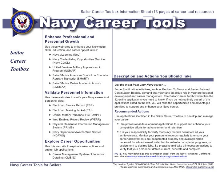 Sailor Career Toolbox Information Sheet (13 pages of career tool resources)                   Navy Career Tools           ...