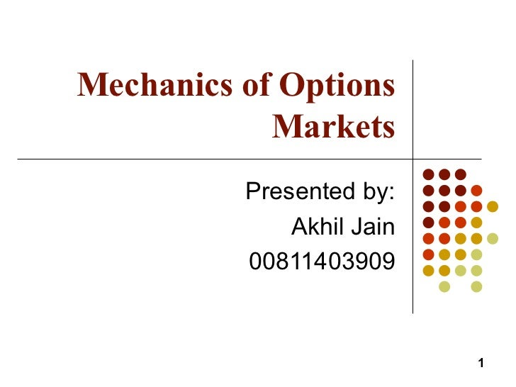 Mechanics of Options Markets Presented by: Akhil Jain 00811403909