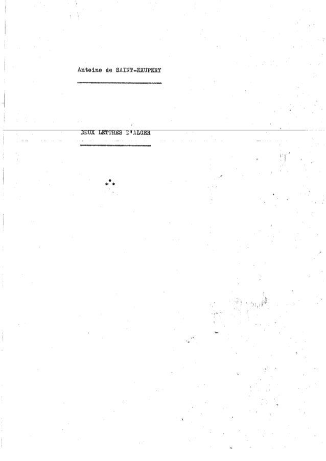 Lettres d'Alger, Saint Exupery, 1944