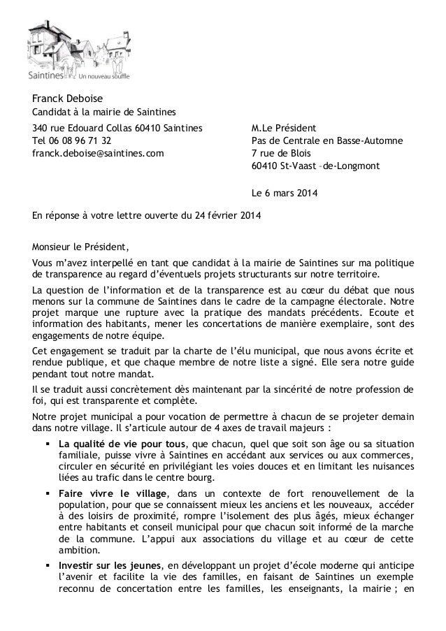 Franck Deboise Candidat à la mairie de Saintines 340 rue Edouard Collas 60410 Saintines Tel 06 08 96 71 32 franck.deboise@...
