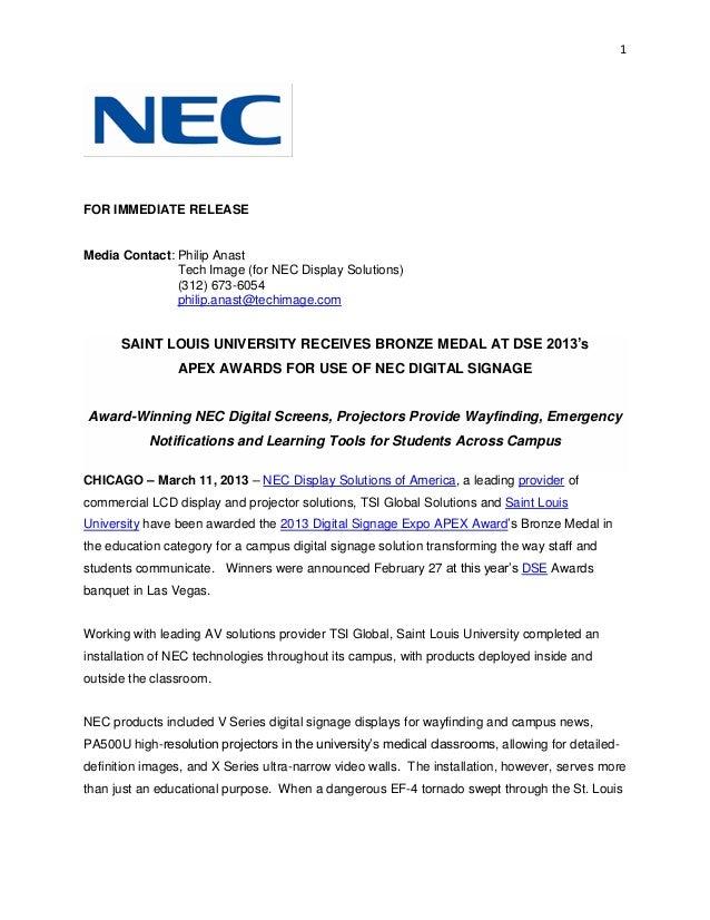 Saint louis university receives bronze medal at dse 2013's apex awards for use of nec digital signage
