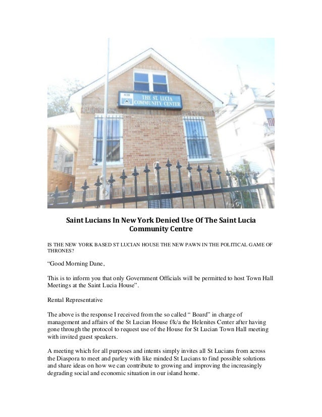 Saint  Lucians  In  New  York  Denied  Use  Of  The  Saint  Lucia   Community  Centre  ...