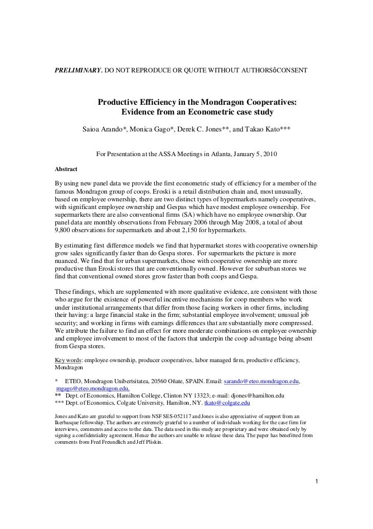 PRELIMINARY. DO NOT REPRODUCE OR QUOTE WITHOUT AUTHORS CONSENT                   Productive Efficiency in the Mondragon Co...