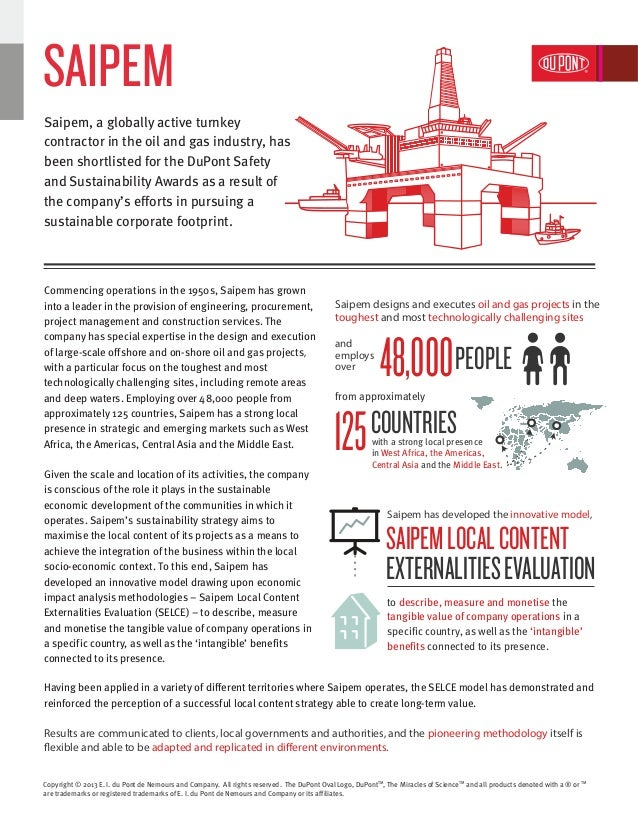 Saipem | DuPont Safety and Sustainability Awards 2013
