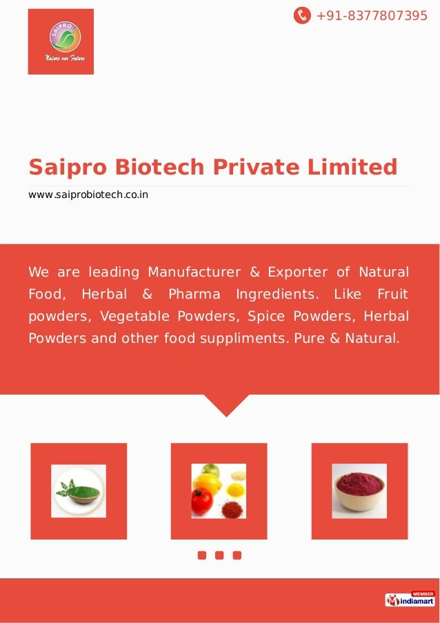 Saipro Biotech Private Limited, Pune, Herbal Extracts