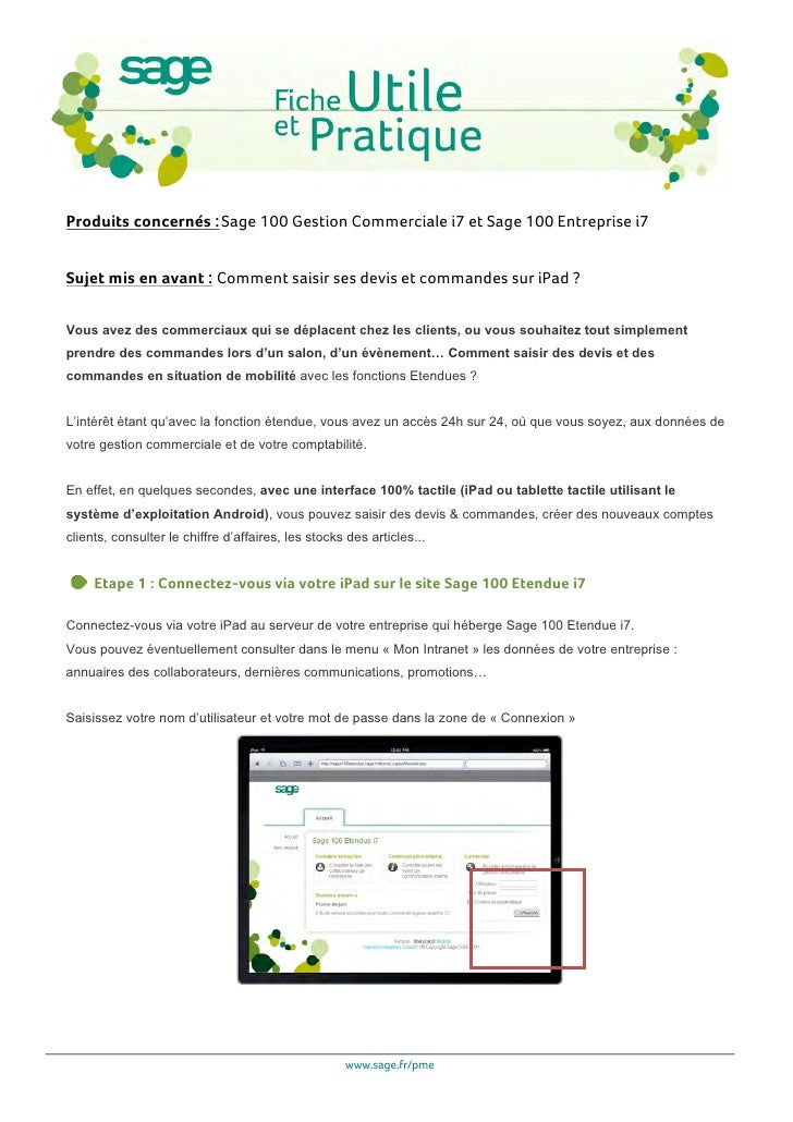 Sage 100 Gestion Commerciale i7 et Sage 100 Entreprise i7 : comment saisir ses devis et commandes sur iPad ?