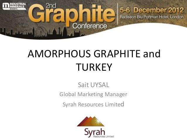 AMORPHOUS GRAPHITE and       TURKEY           Sait UYSAL     Global Marketing Manager      Syrah Resources Limited