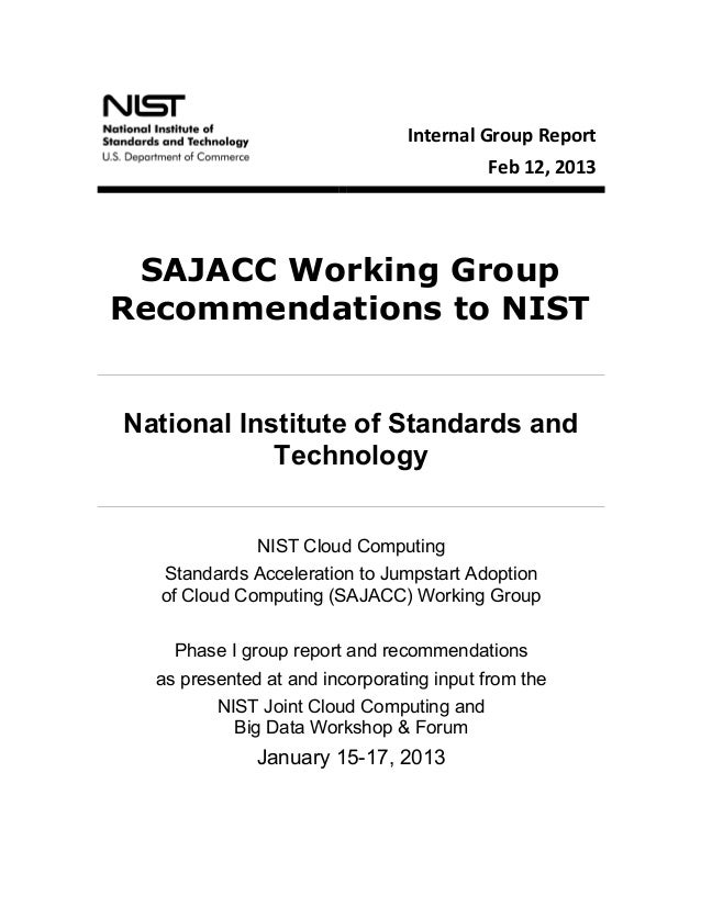 SAJACC Working Group Recommendations to NIST, Feb. 12 2013