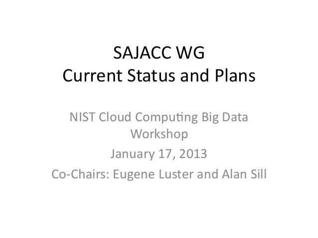 SAJACC WG   Current Status and Plans     NIST Cloud Compu8ng Big Data                   Workshop  ...