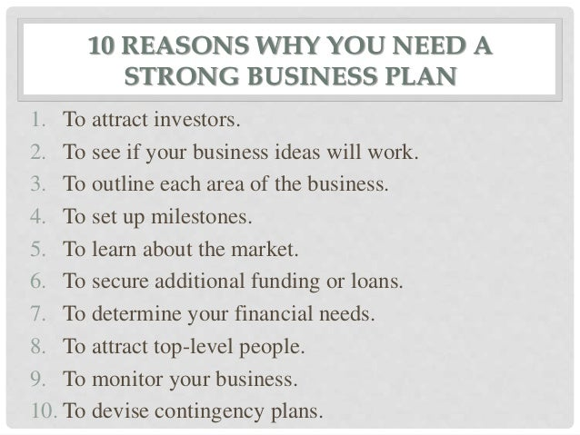 Reasons for a business plan
