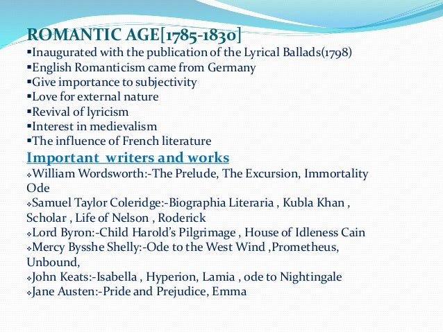 The romantic period in british literature