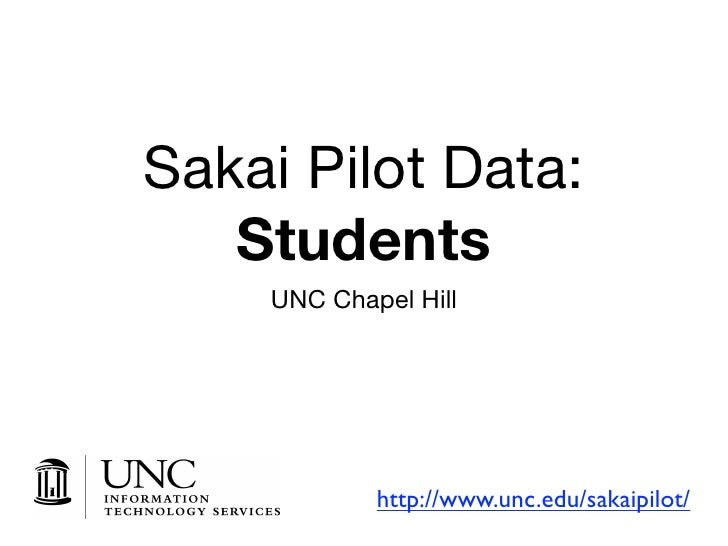 Sakai Pilot Data:    Students     UNC Chapel Hill                 http://www.unc.edu/sakaipilot/