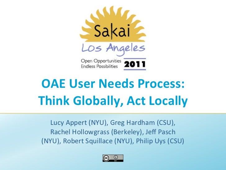 OAE User Needs Process