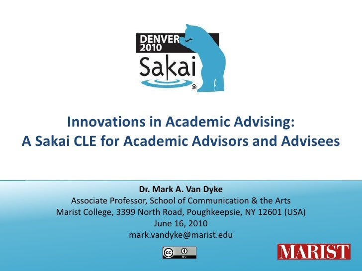 Sakai 2010, Innovations in Academic Advising
