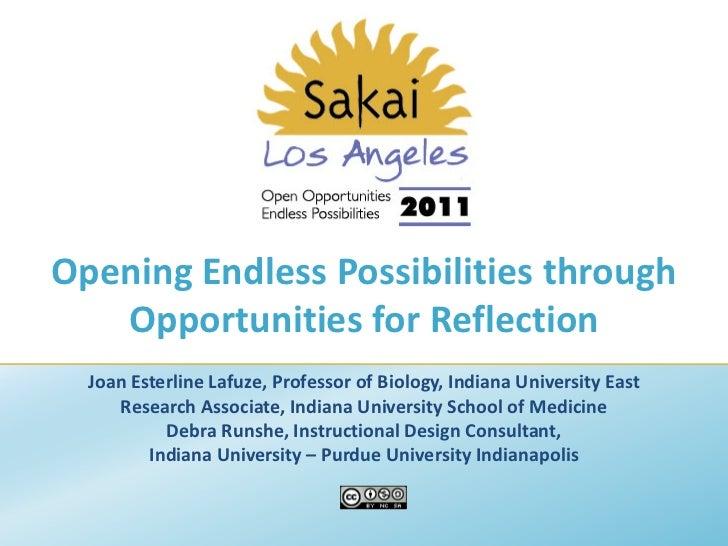 Sakai 2011 opportunities for reflection   lafuze & runshe