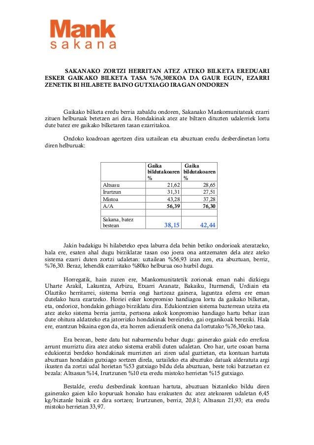 Sakanako mankomunitatea prentsa oharra atez atekoaren emaitzak baloratzeko 130913