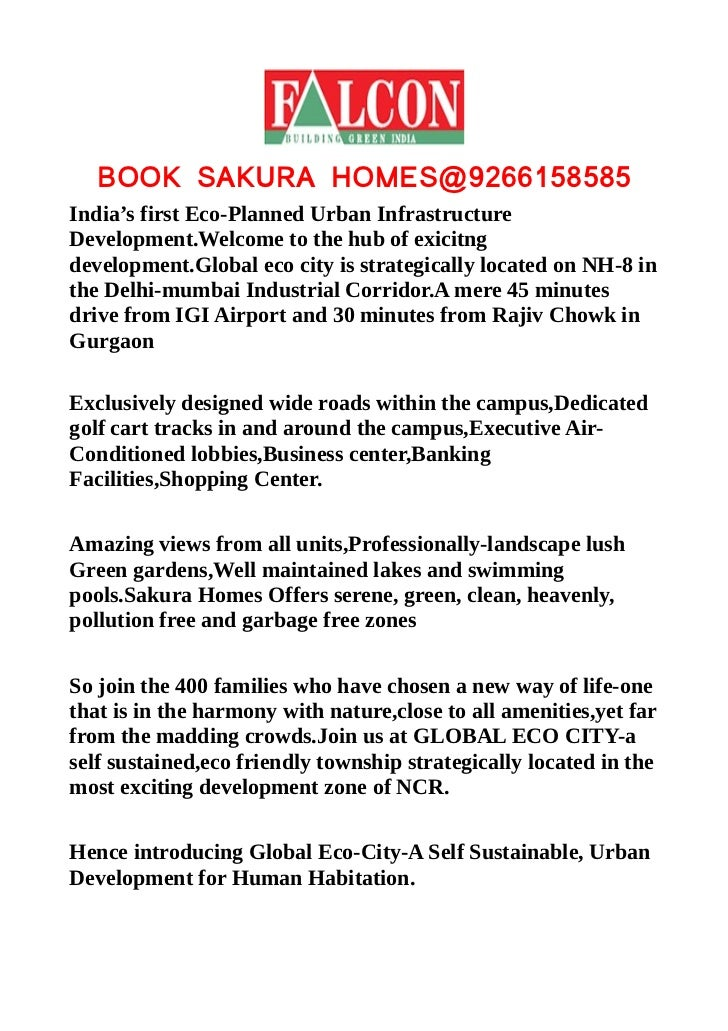 BOOK SAKURA HOMES@9266158585India's first Eco-Planned Urban InfrastructureDevelopment.Welcome to the hub of exicitngdevelo...