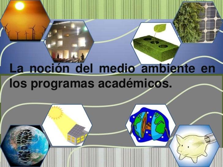La noción del medio ambiente en los programas académicos.<br />