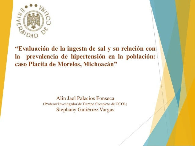 """""""Evaluación de la ingesta de sal y su relación con  la prevalencia de hipertensión en la población:  caso Placita de Morel..."""