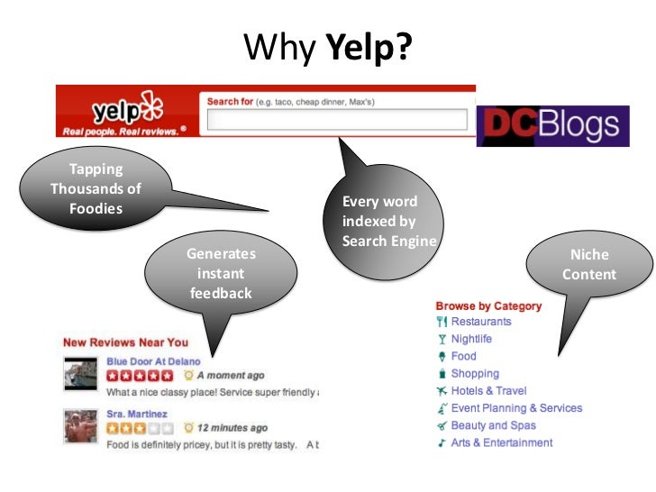 Why Yelp?  TappingThousands of  Foodies                  Every word                           indexed by                  ...