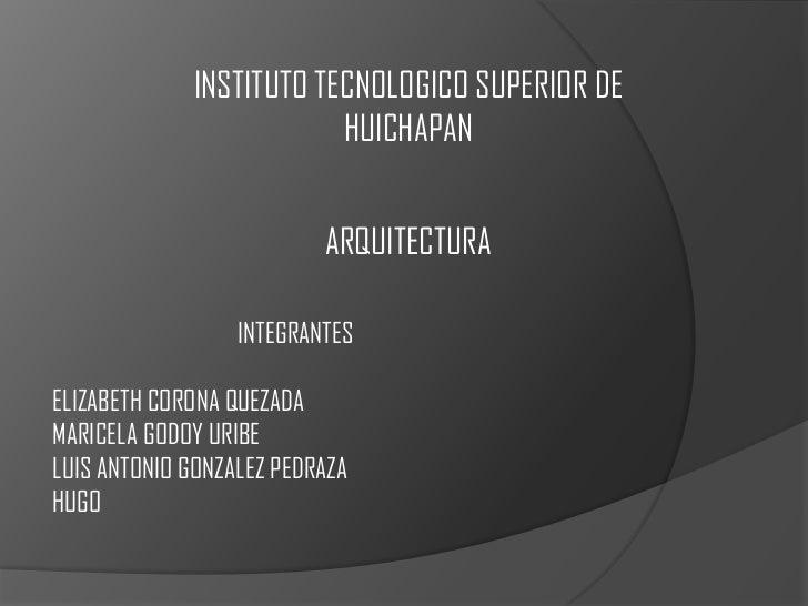 INSTITUTO TECNOLOGICO SUPERIOR DE                         HUICHAPAN                          ARQUITECTURA                 ...