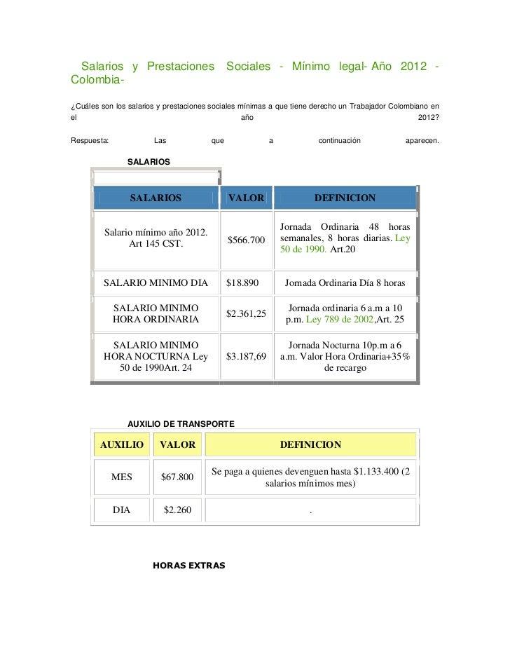 Salarios y Prestaciones                     Sociales - Mínimo legal- Año 2012 -Colombia-¿Cuáles son los salarios y prestac...
