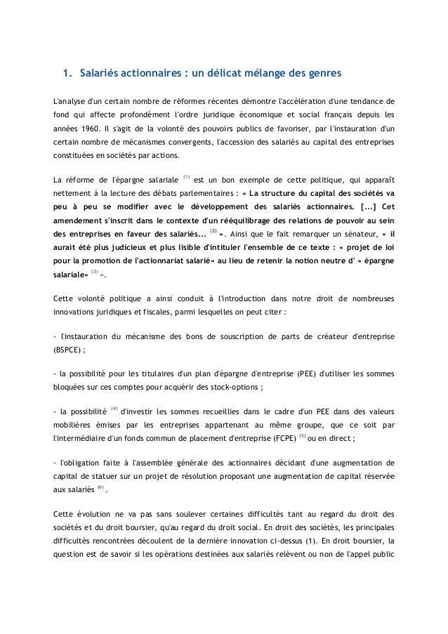 1. Salariés actionnaires : un délicat mélange des genresLanalyse dun certain nombre de réformes récentes démontre laccélér...